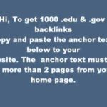 1000 .edu .gov Backlinks FREE
