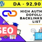 High Authority Dofollow Backlinks List | High DA PA Sites | Instant Approval.