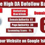 High Authority Website Dofollow Backlinks Da 61 PA 30 Backlinks