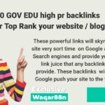 20 GOV EDU high pr backlinks for Top Rank your website / blog